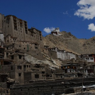 The old palace in Leh and the fortress.